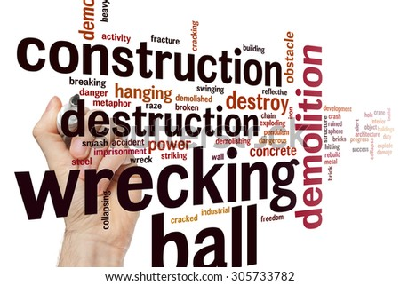 Wrecking ball concept word cloud background - stock photo