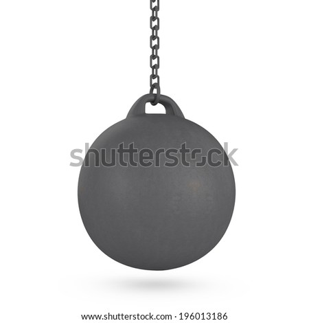 Wrecking ball isolated on white - 3d illustration - stock photo