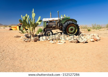 Wrecks in Solitaire, Namibia - Solitaire is a small settlement in the Khomas Region of central Namibia near the Namib-Naukluft National Park.   - stock photo