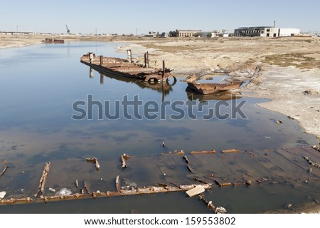 Wrecks of old abanadoned ships, Aral Sea - stock photo