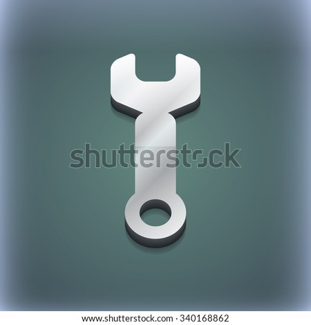 Wrench key icon symbol. 3D style. Trendy, modern design with space for your text illustration. Raster version - stock photo