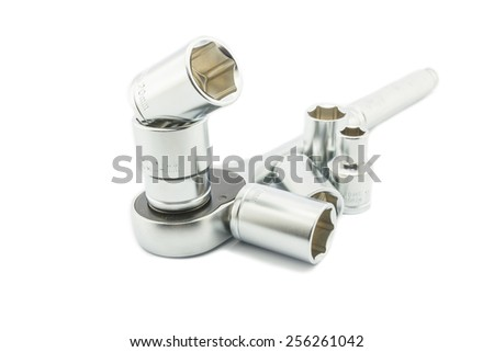 Wrench ratchet and socket size 24, 20 mm isolated on white background. - stock photo