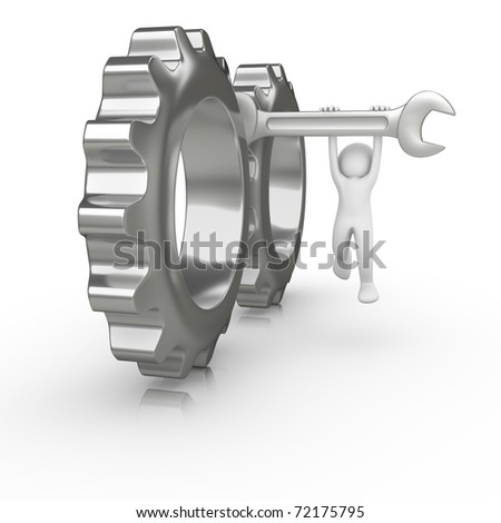 Wrench stuck between two big gears - stock photo