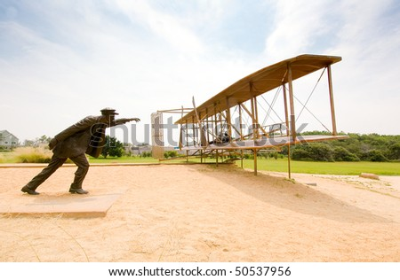Wright Brothers National Memorial, first flight statue - stock photo