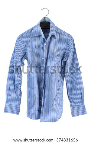 wrinkle striped shirt isolated on white