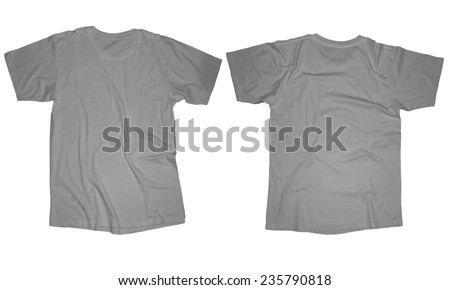 Wrinkled blank grey tshirt template front stock photo for White t shirt template front and back