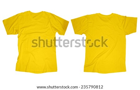 Wrinkled blank yellow t-shirt template, front and back design isolated on white - stock photo