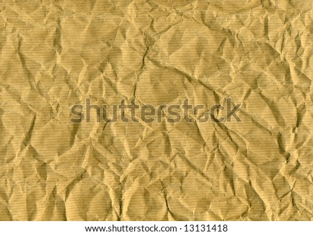 wrinkled brown paper for backgrounds, textures or layers - stock photo