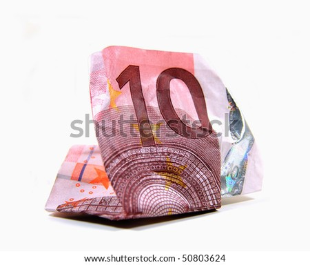 Wrinkled 10 Euro banknote on white background