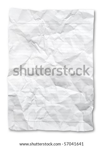 Wrinkled Note paper. - stock photo