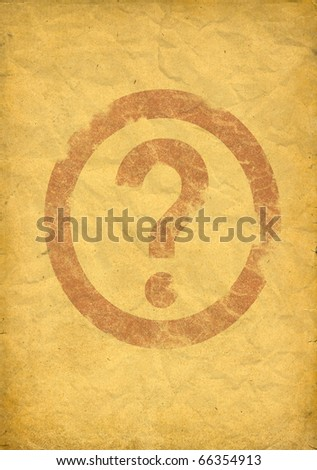wrinkled old paper with red question mark. - stock photo