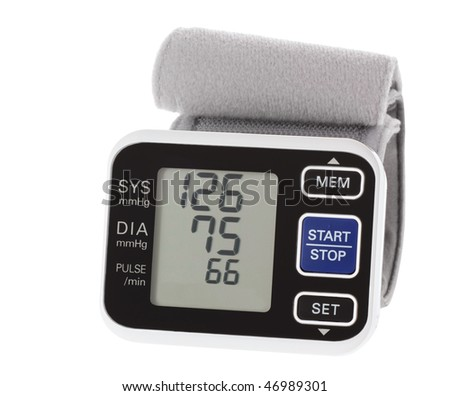 Wrist blood pressure monitor showing normal blood pressure isolated on white - stock photo
