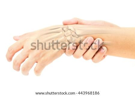 wrist bones injury ,wrist  injury  - stock photo