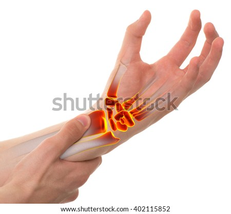 Wrist Pain Sports Injury isolated on white - stock photo