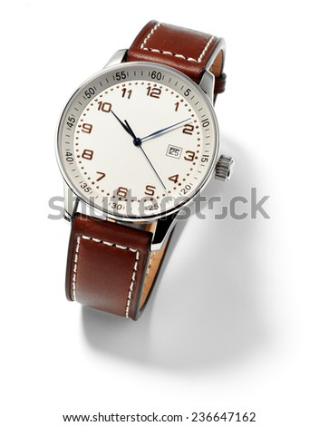 wristwatch for man,isolated - stock photo
