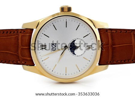 wristwatch gold case on a white background