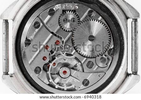 wristwatch mechanism - stock photo