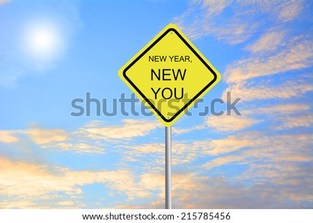 Write a New Year, New You road sign green - stock photo