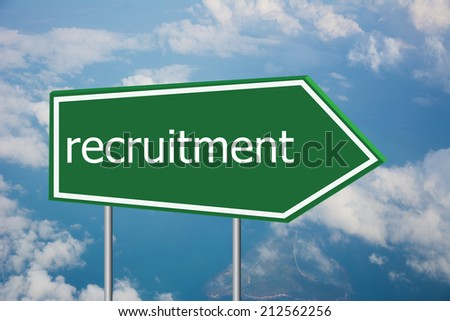 Write a recruitment on the Road Sign  - stock photo