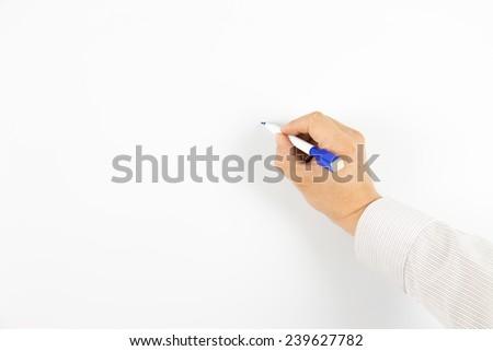 Write on the whiteboard - stock photo