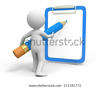 Write/Pencil/ board /A person in writing with pencil on the board - stock photo