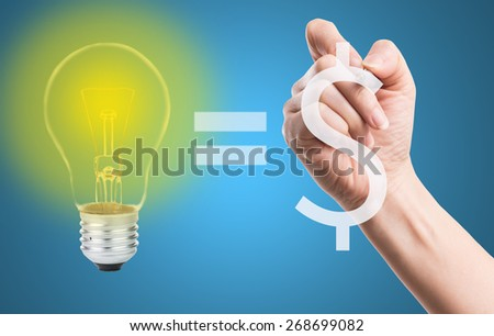 Write your idea amount Money with your hand. - stock photo