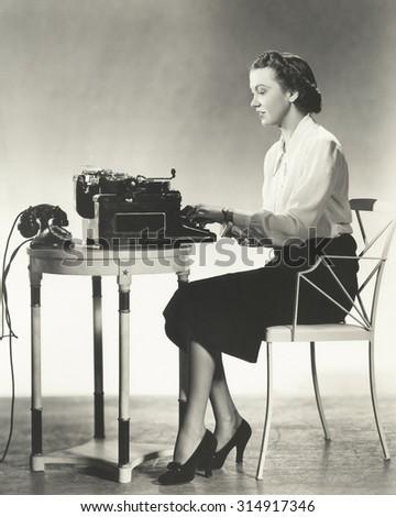 Writer at work - stock photo