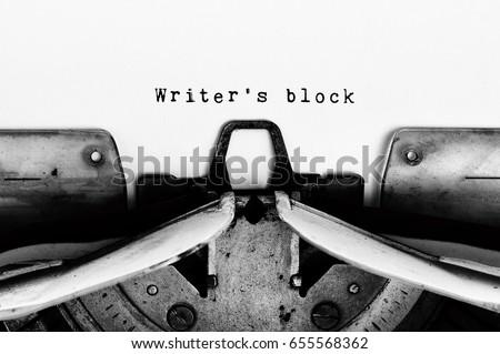 Writer's block text typed on vintage typewriter