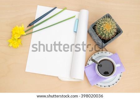 Writer's table   - stock photo