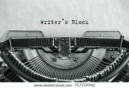 Writers Block typed words on a Vintage Typewriter
