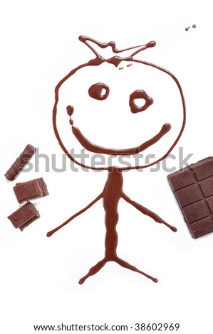 Writing and painting with chocolate - stock photo