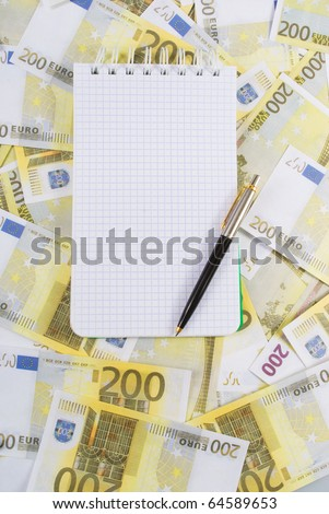 Writing-book for notes with pen on banknotes 200 euros
