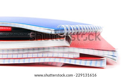 Writing-books on a white background. With your place for the text. - stock photo
