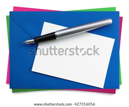 writing cards, isolated on white - stock photo