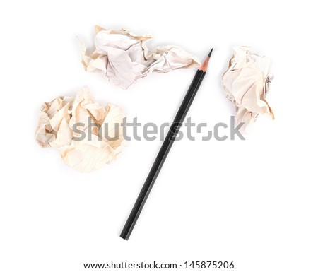 Writing concept - crumpled up paper wads with pencil on white background - stock photo