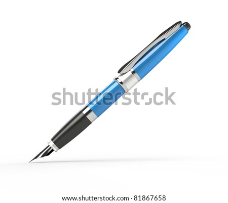 Writing fountain pen on white background. Computer generated image.