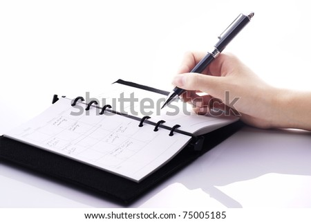 writing on the book - stock photo