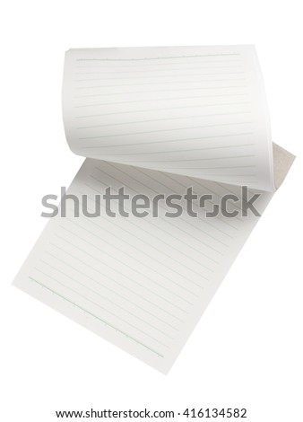 Writing Pad on White Background / notebook paper background  - stock photo