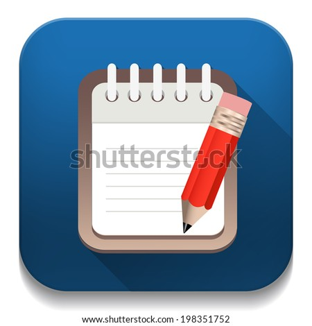 writing pad With long shadow over app button