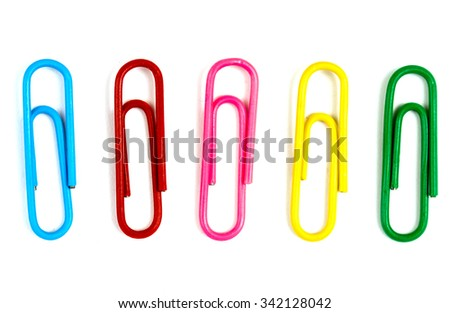 Writing paper clips on a white background - stock photo