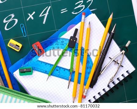 Writing school utensils.  Office stationery. - stock photo
