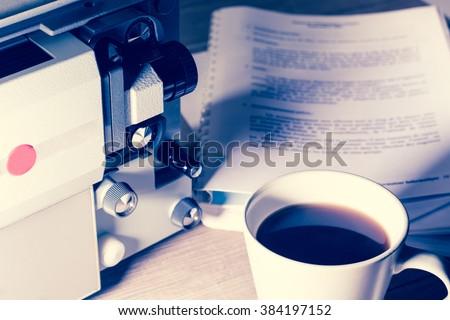 Writing screenwriter super 8 time - stock photo