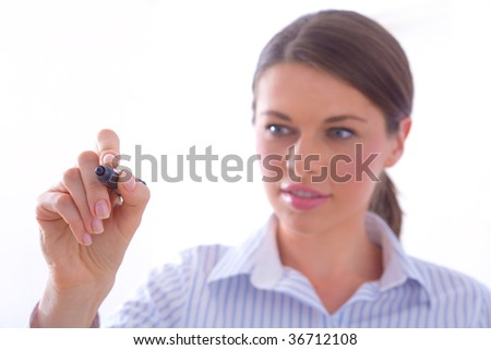 Writing with a marker - stock photo