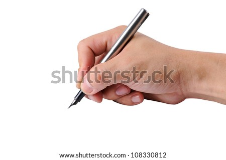 Writing with right hand for Education with clipping path - stock photo