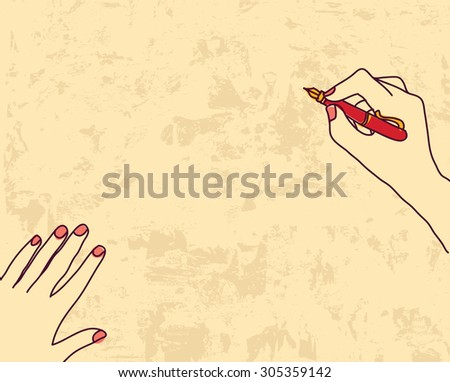Writing woman hands on grunge empty background. Hand with pen is writing or drawing on the grunge background. Color illustration. EPS 8. - stock photo