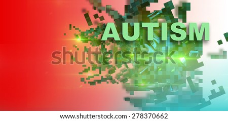 writing word  Autism  on gradient background with many shatter green piece made in 2d software