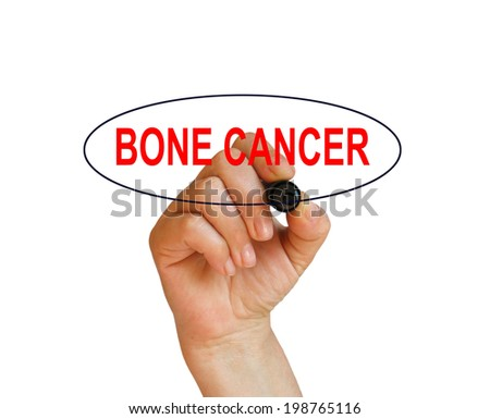 writing word BONE CANCER with marker on white background made in 2d software