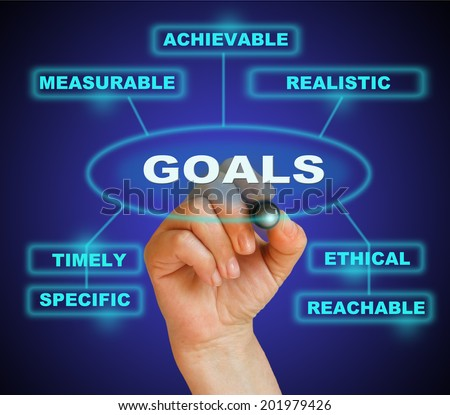 writing  words GOALS  on gradient background made in 2d software - stock photo