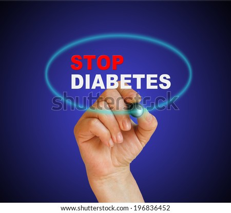 writing words ' STOP DIABETES ' on white background made in 2d software - stock photo