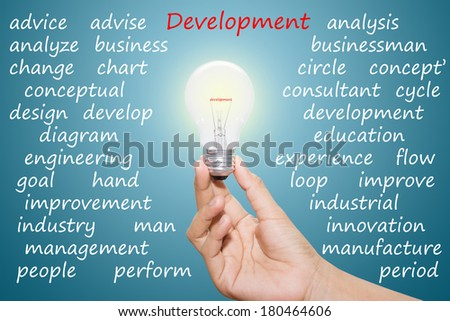 Written development in the light bulb  - stock photo